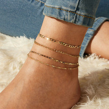 """14K Gold Plated 11"""" Anklet W/ Ball & Heart Charm Dangles From Figaro Chain M232 - $7.83"""