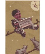 Victorian Trade Card Pierrot Child Sings to Moon and Cats Gold Background - $5.93
