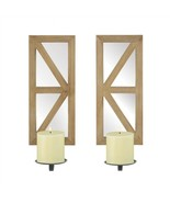 Mirrored Rectangular Wood Candle Wall Sconce Set of 2 - $41.83