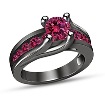 Round Cut Pink Sapphire Engagement Ring Solid 14K Black Gold Finish 925 ... - $76.99