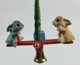 Hallmark Christmas Ornament Friends Are Fun Bunnies Teeter Totter Seesaw 1991 - $13.31
