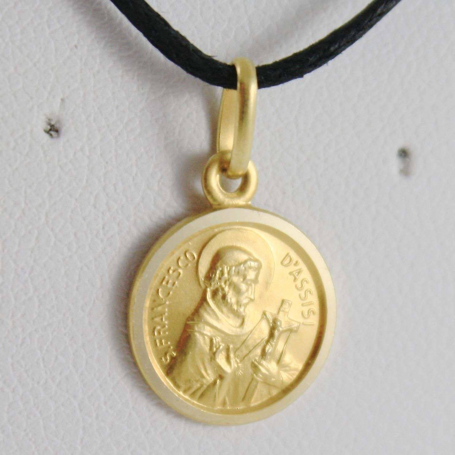 PENDENTIF MÉDAILLE OR JAUNE 750 18K, SAN FRANCESCO D'ASSISE 13 MM MADE IN ITALY