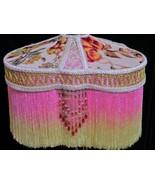 Victorian Lamp Shade Silk Velvet Burnout Metallic Lace Tripod Lampshade - $217.80