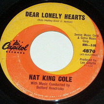 45 RPM Nat King Cole Next in Line, Lonely Hearts Capitol Vinyl Record 48... - $9.08