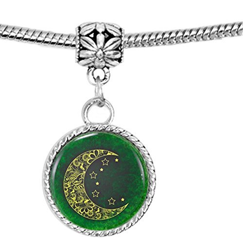 Patterned Crescent Moon with Stars on Green Charm Bracelet