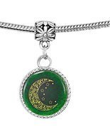 Patterned Crescent Moon with Stars on Green Charm Bracelet - £7.40 GBP