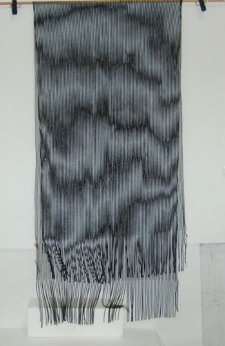 Fashion Scarf LC3117 Black Long Fringed Shimmery 20 by 71