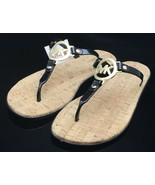 NEW Black MICHAEL KORS Gold MK CHARM JELLY Cork FLIP FLOPS Sandals Shoes... - $67.90