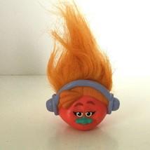 Troll Doll DJ Pencil Topper McDonalds Happy Meal Toy 2016 Orange Hair Headphones - $3.00