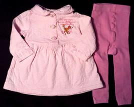 Girl's Size 6-9 M Months 2 Pc Pink Bambi L/S Floral Dress/ Top & Warm Le... - $15.00