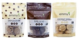 Emmy's Organics, Coconut Cookies - Variety Pack Dark Cacao, Vanilla Bean, Chocol - $35.41