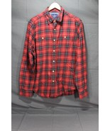 NEW Men's AE Classic Fit Workwear Button Front Shirt Red Navy Plaid AEO ... - $12.94