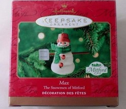 Sweet MIB 2000 Hallmark Jan Karon Max the Mitford Snowman Christmas Ornament - $7.08