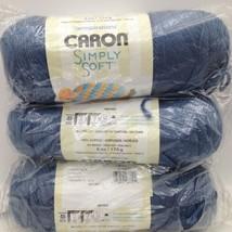 Caron Simply Soft Yarn 3 Each 100% Acrylic - 6 oz - Country Blue New - $16.48