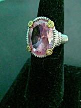 Judith Ripka Pink Crystal Sterling Silver 18K Gold w/Diamonds Ring Sz 7 ... - $209.95