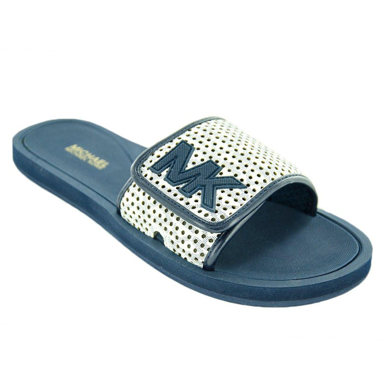 Michael Kors MK Women's Premium Designer Slide Slip On Sandals Shoes White/Navy
