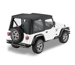 Bestop 79120-01 Black Sailcloth Replace-A-Top Soft Top with Clear Windows and Up