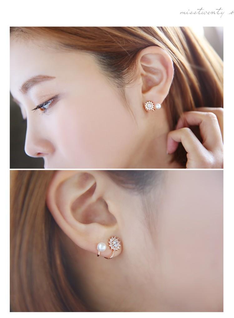 BAHYHAQ -  Pearl Jewelry Snowflake Sweet Gold/Silver Color Stud Earrings