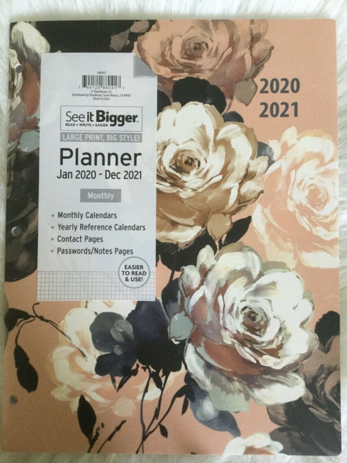 Primary image for Peony PlanAhead 2020-2021 See It Bigger Monthly Agenda Large Planner11 x 8.5