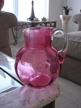 Victorian Art Glass Rib Optic Cranberry Water Pitcher - $126.23
