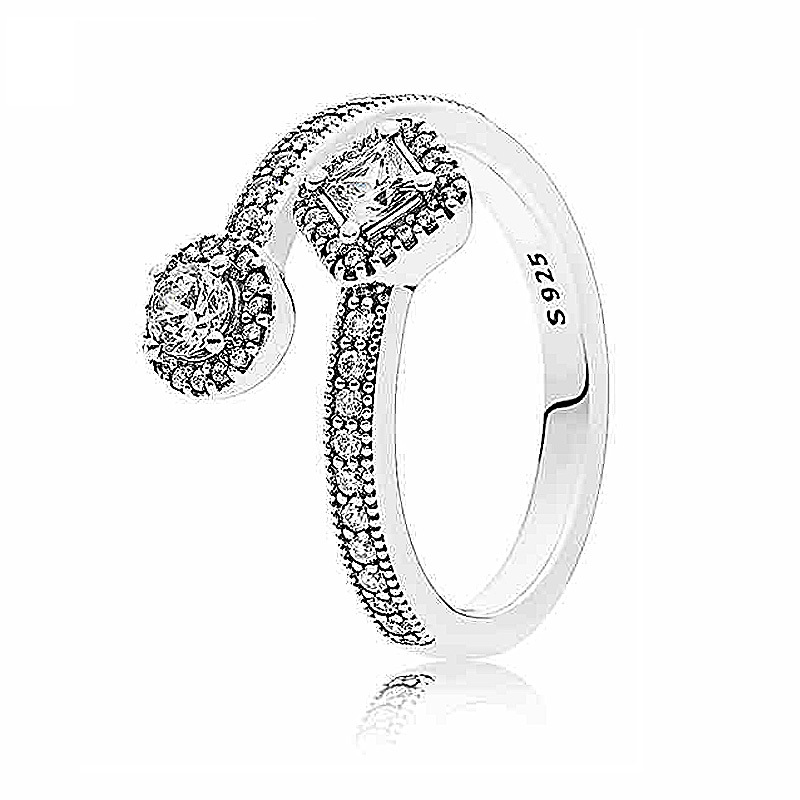 Authentic 925 Sterling Silver Ring Abstract Elegance With Crystal Ring For Women