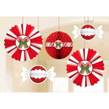Christmas Peppermint Candy Cane 5 Pc Honeycomb  Fan Hanging Decorations - $15.19