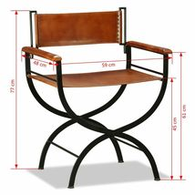 vidaXL 1/2x Folding Chair Genuine Real Leather Kitchen Dinner Dining Room Seat image 11