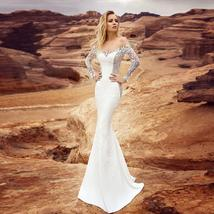 Long Sleeve Victorian Lace Corset Mermaid Trumpet Luxury Wedding Dress With Remo image 3