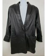 Wilson's Black Leather Long Jacket 1 Snap Button Men's Size L - $49.49