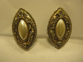 CLIP EARRINGS A diamond shaped faux in aI lacy gold color FRAME - $2.96