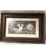 """Framed Blue Owl Print Unsigned Child's Room Flowers 12.5 x 8.75"""" - $19.99"""