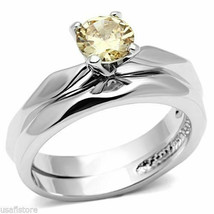 Champagne CZ Ladies Two PCS Wedding Set Silver White Gold EP Ring Size 9 - $24.65