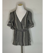 Free People Womens Top Wrap Tie Striped Short Sleeve Black Sz M NWT - $24.95