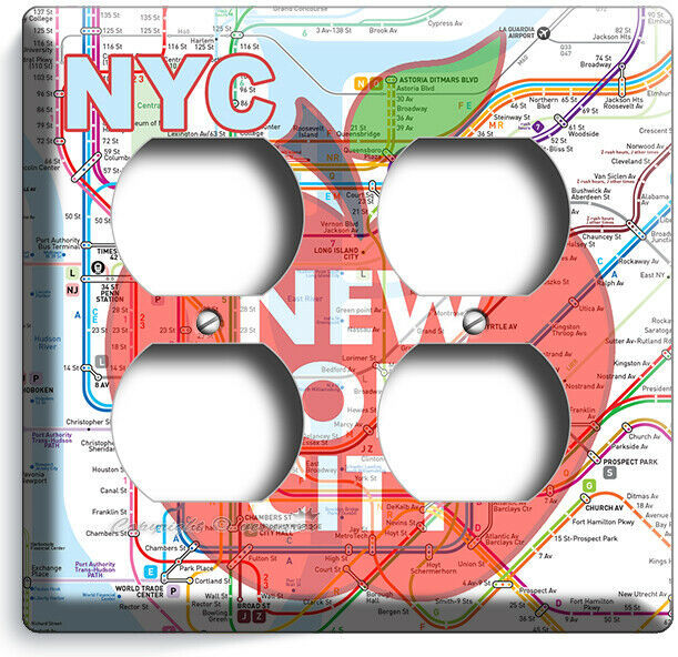 NYC NEW YORK CITY BIG APPLE SUBWAY MAP LIGHT SWITCH OUTLES WALL PLATE ROOM DECOR image 8