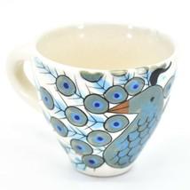 Ceramic Hand Painted Peacock Design Espresso Cup Mug Handmade Guatemala