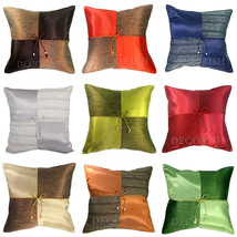 SILK DECORATIVE THROW PILLOW CUSHION COVER CASE FOR SOFA COUCH BED CHECK... - £6.86 GBP