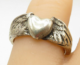 925 Sterling Silver - Vintage Love Heart With Wings Band Ring Sz 8 - R9882 - $30.01