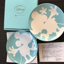 Disney Mickey & Minnie mouse Pair Plate Dish Ring bell Blue porcelain We... - $57.42