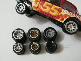 REAL RIDERS WHEELS RUBBER TIRES 55 CHEVY GASSER 3 SETS 1/64 HOT WHEELS M... - $24.90