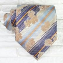 Neck tie silk blue bronze floral  Made in Italy Morgana wedding  busines... - $23.50