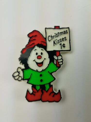 Primary image for 1981 Hallmark Holiday Christmas Pin Elf Christmas Kisses 1 cent Sign green red