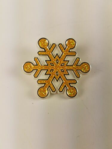 Primary image for Hallmark 1987 Holiday Christmas Pin Yellow Gold Glittery Snowflake