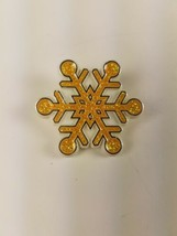 Hallmark 1987 Holiday Christmas Pin Yellow Gold Glittery Snowflake - $9.65