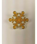 Hallmark 1987 Holiday Christmas Pin Yellow Gold Glittery Snowflake - $9.65