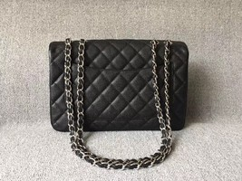 AUTH CHANEL BLACK QUILTED CAVIAR LEATHER JUMBO CLASSIC FLAP BAG SHW image 2