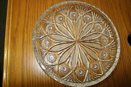 VTG~Anchor Hocking Star of David Scalloped Edge Glass Round Serving Plat... - $21.77
