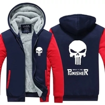 Skull The Punisher hoodies winter jacket for men fleece thicken Costume  - $55.99