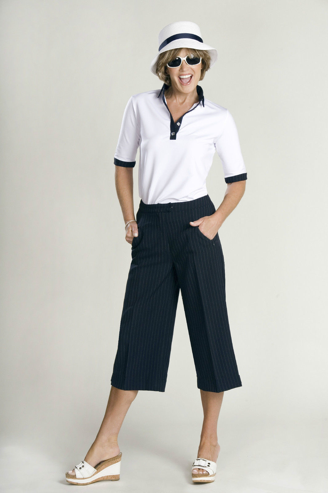 Stylish Golf & Casual Flat Panel Front Gaucho Pant, Swarovski Accent