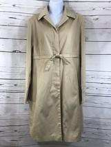 Women's Nine West Lightweight Gold/Tan Dress Coat Sz M Silky Raincoat Feel - $14.03