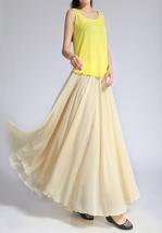 YELLOW High Waist Chiffon Maxi Skirt Women Flowing Long Wedding Bridesmaid Skirt image 9